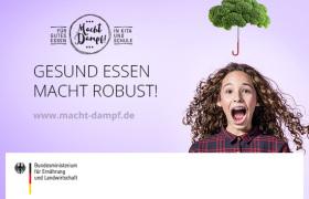 """Kampagnenbild des BMEL für gesunde Ernährung in Kitas und Schulen """"Gesund essen macht robust"""""""