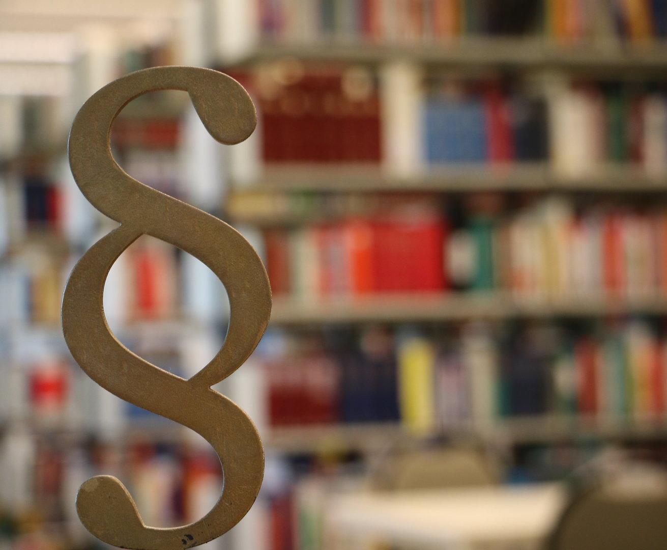 Kleinskulptur Paragraphenzeichen vor Bücherregal